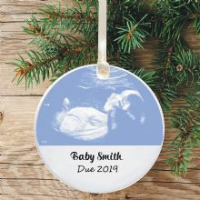 Personalised Baby Ultrasound Scan Ceramic Keepsake Christmas Tree Decoration - Ideal Photo Gift